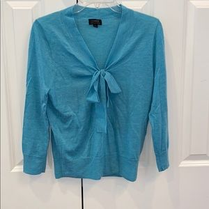 J. Crew teal cashmere sweater with tie, size M